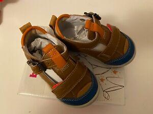 BABYBOTTE  Babies Patachou cuir brun et bleu tige : 6,5 cm pointure 20 neuves