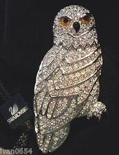Signed Swan Swarovski Pave Crystal Owl Brooch Pin