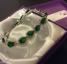 "GB Green cz emerald pear 7.25"" silver bracelet (white gold filled) Plum UK BOXED"