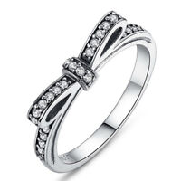 Silver Plated Sparkling Bow Knot Stackable Ring Elegant Ladies Wedding JewelryA!