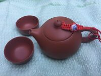 120ml tea pot Chinese yixing zisha red stoneware xi shi pot two teacups on sales