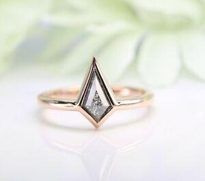 Kite Bezel Set Salt and Pepper Diamond 14K Rose Gold Engagement Ring