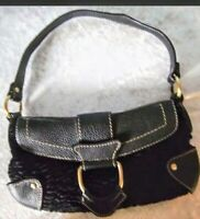 Valerie Stevens Purse Black Bag Small Leather Fabric Shoulder bag Baguette Style