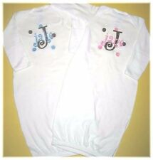 Personalized Monogram Baby Boy or Girl Name Dots TWINS SLEEPER LAYETTE Shirt SET