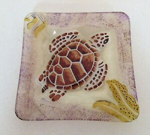 "Brown Sea Turtle Art Fused Glass Square Plate Dish 7"""