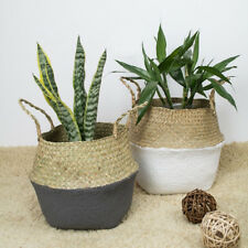 New Seagrass Flower Belly Basket Storage Holder Home Plant Pot Laundry Organizer