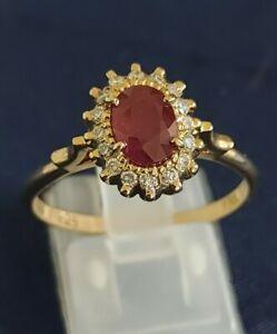 18ct Yellow Gold Oval 2ct Ruby & Diamond Dress Ring Size T