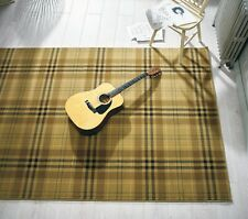 GLEN KILRY CHECKED TARTAN DESIGN BEIGE RUG 120 X 170 CM (4'X5'6'') CARPET