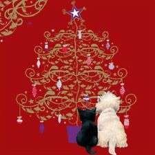 Golden Eve Black Cat & Westie Arbre de Noel rouge Lot de 10 petits carrés Cartes de Noël
