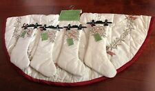 CELERIE Tree Skirt & 4 Stockings METALLIC Embroidered LUXURY Christmas BOWS NWT