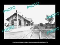 OLD LARGE HISTORIC PHOTO OF RIVERTON WYOMING THE RAILROAD DEPOT STATION c1930