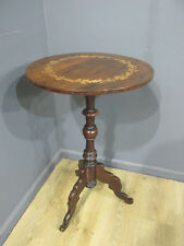 ANTIQUE 19TH CENTURY VICTORIAN ROSEWOOD INLAID LAMP / HALL TABLE