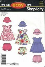 Simplicity 2425 Baby Infant Dress Panties Hat Size XS - L It's So Easy Pattern