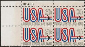 US USA Sc# C75 MNH FVF PLATE# BLOCK   Jet Airplane Red White Blue 20 cent