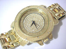 Gold Tone Metal Case Band Spin Dial Techno Pave Men's Watch w Crystals Item 3418