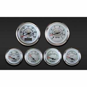 eGauges Sterling GPS Speedometer 6 Gauge Kit - Illuminated - White