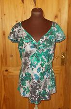 PER UNA M&S ivory grey green blue floral LINEN short sleeve tunic top 14 42
