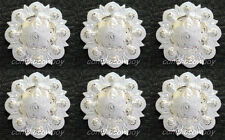 "Set of 6 WESTERN HORSE SADDLE TACK BRIGHT SILVER BERRY CONCHOS 1-1/4"" screw back"