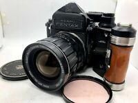 【EXC+5】Pentax 6x7 67 Mirror up + TTL Finder + SMC T 75mm F4.5 + Grip From Japan