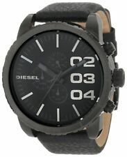 New Diesel DZ4216 Men Round Dial Chronograph Black Leather Band Watch