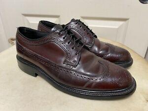 Vintage Hanover Wing Tip Shell Cordovan Shoes Burgundy 8 1/2 B/C LB Sheppard