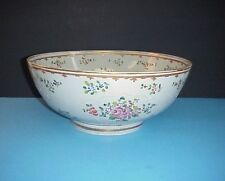 Antique Chinese Bowl Hand Painted Enameled Flowers Very Large 13.5