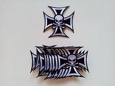 "10 Skull in Cross Biker Embroidered Patches 3""x3"""