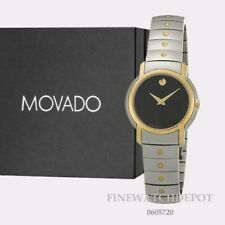 Authentic Movado Two Tone Women's SL Stainless Steel Black Dial Watch 0605720
