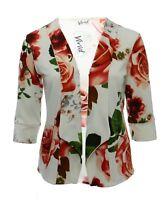 Ladies New Light Blazer Open Jacket Top White Floral Bnwt Ladies *LICK*