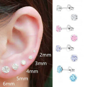 925 Sterling Silver Round Earrings Studs Tiny Small One pair or Set of Three