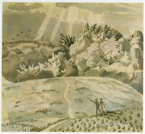 The Field Path, Paul Nash print in an 11 x 14 inch mount ready to frame SUPERB