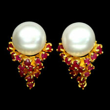 Natural CREAMY WHITE Fresh Water PEARL & RUBY Sterling 925 Silver EARRINGS