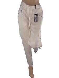cristina effe pantalone donna bianco affusolato lino glitterato taglia it 44 w30