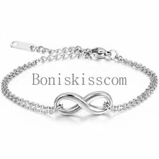 Damen Edelstahl Armband Armreif Infinity Unendlichkeit Eternity Armkette Silber