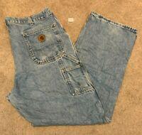 Mens Carhartt Dungaree Fit Denim Blue Jeans (Size W40 L32) L15
