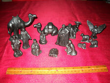 Antique 1920s Greenware Nativity Set Fifteen (15) Figures Painted Black
