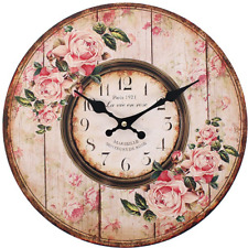 Pink Rose Paris 1921 Design Wall Clock French Shabby Chic Large Round 34cm