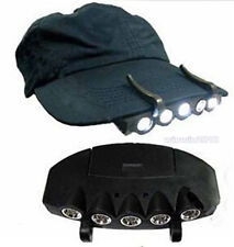 New Clip-On LED Head Lights Lamp Cap Hat Camping Torch with Clip Hand FS 5 Light