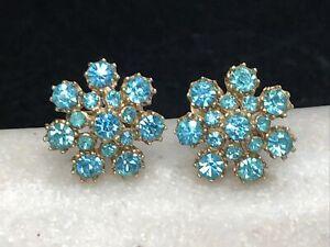 Vintage Signed CORO Aqua Blue Rhinestone Gold Tone Screw Back Earrings