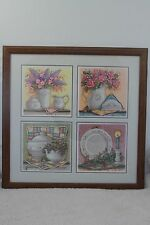 KITCHEN ART  FOUR  PICTURES OF POTTERY WITH FLORAL ARRANGEMENTS