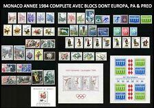 MONACO 1984 ANNEE COMPLETE Neuve** avec PA PREO Blocs N°27 & 29 + Europa 28 MNH