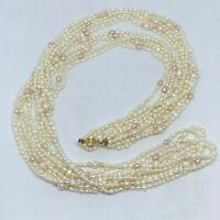 5 Strand Freshwater Pearl Necklace 48 in. Opera Length Pink White Baroque Pearls