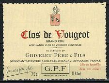 Etiquette de Vin - Bourgogne - Clos De Vougeot - Grand Cru -Grivelet - Réf.n°179