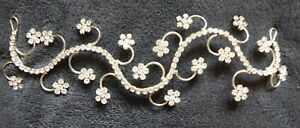 verstellbares Diadem mit Blüten + Straßsteinen ca. 8 cm lang Elfen Feen