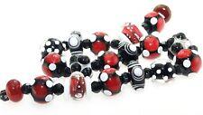 OliveStuart Handmade Lampwork Beads 22 black/white/red round/disc