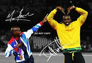 USAIN BOLT & MO FARAH SIGNED A4 GLOSSY PHOTO POSTER REPRINT 2012 LONDON OLYMPICS