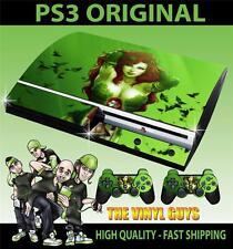 PLAYSTATION PS3 OLD SHAPE STICKER POISON IVY ARKHAM BATMAN SKIN & 2 PAD SKINS