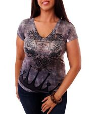 Size 1X Women/'s Brown Gray Blouse Top with Crown Royal Print and Rhinestones