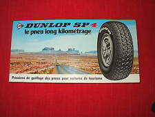 DUNLOP TYRES 1960's-1979 european cars vehicles tire pressure guide
