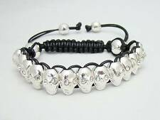 MENS Shamballa SILVER SKULL RHINESTONE Beaded Adjustable Bracelet